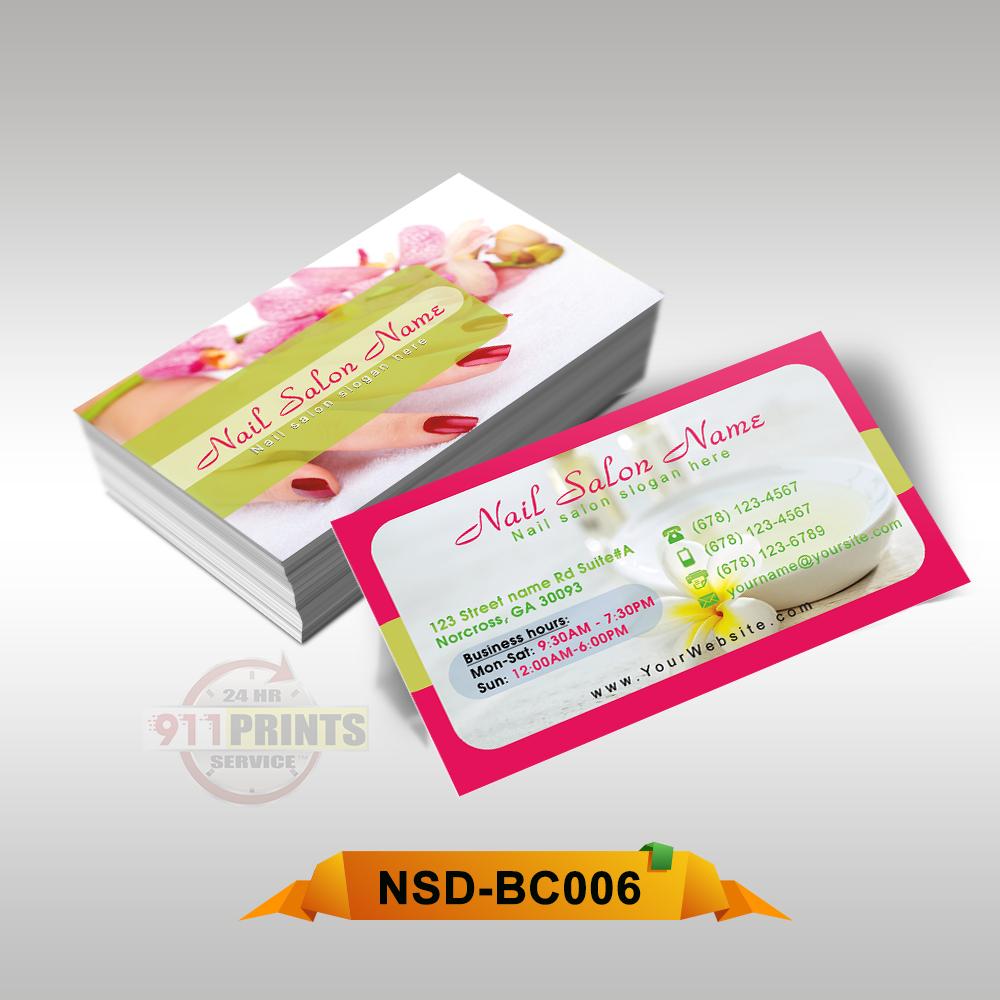 Nail salon business cards 911 prints 24hr rush printing nail spa business card bc006 colourmoves
