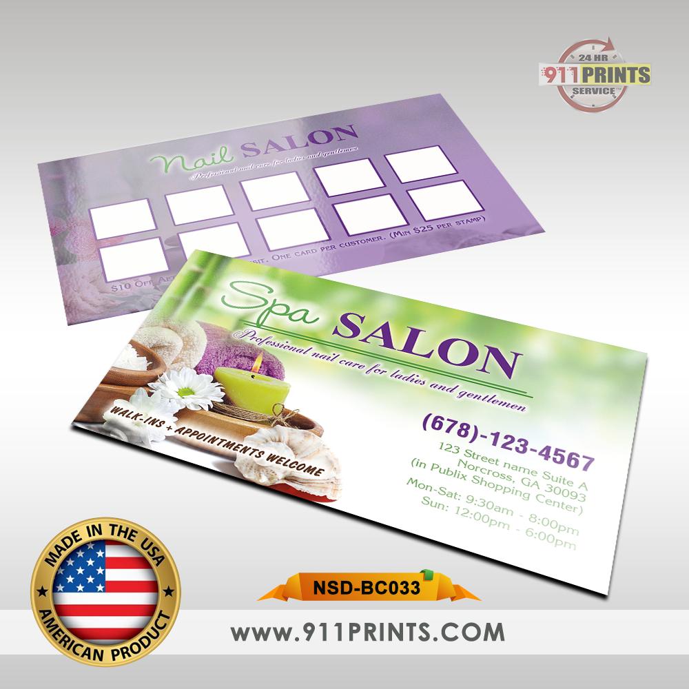 NAIL SPA BUSINESS CARD BC033 – 911 Prints – 24hr RUSH Printing