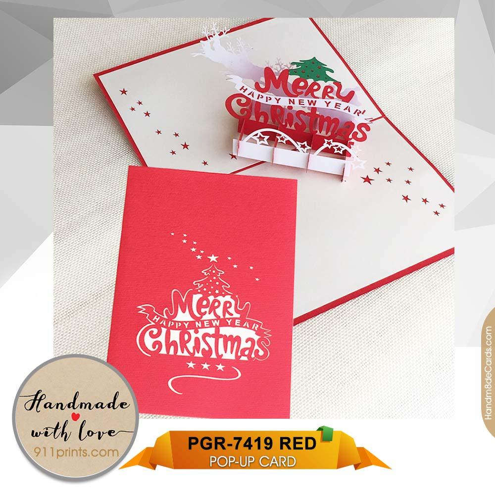 Christmas Card Printing.Pop Up Christmas Card Pgr 7413 Red