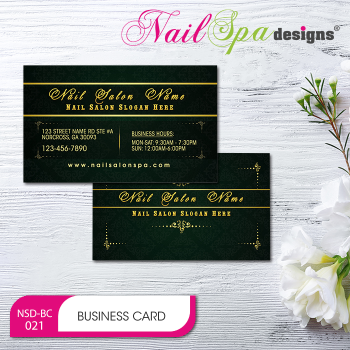 nail spa business card bc021 - Spa Business Cards