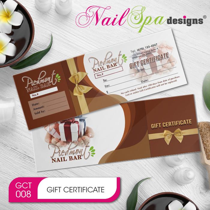 Nail Spa Gift Certificate & Envelope NSD-GCT008